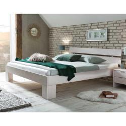 Massivholzbett in Weiß Skandi Design