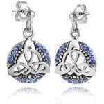 MATERIA 925 Silber Ohrstecker keltischer Knoten - Damen Ohrringe Zirkonia blau rhodiniert mit Box #SO-213