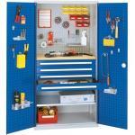 Materialschränke Kappes Systeme Werkzeugschrank, Türen mit Lochplatte, 1 Platte, 4 Schubl. + 1 Fachb., BxTxH 1000x600x1950 mm, RAL 7035/5010