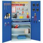 Materialschränke Kappes Systeme Werkzeugschrank, Türen mit Schlitzplatte, 2 Schubl. + 3 Fachb., BxTxH 1000x600x1950 mm, RAL 7035/5010