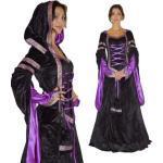 Schwarze Burgfräulein-Kostüme für Damen