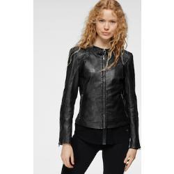 Maze Lederjacke, mit Applikationen und Riegel am Stehkragen schwarz Damen Lederjacke Lederjacken Jacken Mäntel