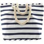 MC Trend XL Strandtasche hochwertige Umhängetasche für den Urlaub 54x37x17 cm großer Shopper mit Innentasche Beach Bag (Weiss/Blau)