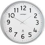 Mebus Funkwanduhr Ø 30,5 cm Kunststoff Silber