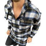 Megaman Jeans Flanellhemd »Herren Holzfäller Hemd mit Kapuze Langarm Flanell Holzfeller Baumwolle Flanellstoff Jacket« mit Kapuze