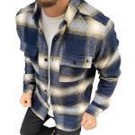 Megaman Jeans Flanellhemd »Megaman Herren Holzfäller Hemd Langarm Karohemd Kariert Shirt Flanell Holzfeller Baumwolle Flanellstoff«, Blau/Beige