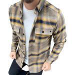 Megaman Jeans Flanellhemd »Megaman Herren Holzfäller Hemd Langarm Karohemd Kariert Shirt Flanell Holzfeller Baumwolle Flanellstoff«, Gelb/blau