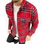 Megaman Jeans Flanellhemd »Megaman Herren Holzfäller Hemd Langarm Karohemd Kariert Shirt Flanell Holzfeller Baumwolle Flanellstoff«, Rot/blau