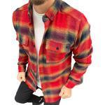 Megaman Jeans Flanellhemd »Megaman Herren Holzfäller Hemd Langarm Karohemd Kariert Shirt Flanell Holzfeller Baumwolle Flanellstoff«, Rot/Gelb