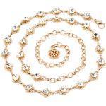 MEGAUK Damen Bling-Bling Strass Brautgürtel Kettengürtel Taillengürtel Hüftgurt Strassbrautgürtel Metall Kette Gürtel - Ideal für Kleid Hochzeit Party Brautjungfernkleider (Gold)