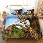 Meimall Mädchen Bettwäsche Grünland Tier Giraffe Landschaft 135X200 cm Baby Bettwäsche Set 2-Teilige Polyesterfaser Ist Super Weich Doppelseitige Bettwäsche Jugend Reißverschluss Kissenbezug