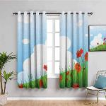 MENGBB Blickdicht Vorhang Kinderzimmer Mikrofaser - Cartoon Mohn weiße Wolke blau - Ösen 90% Blickdicht Gardinen - 160x180cm Mädchen Junge Schlafzimmer Wohnzimmer dekorativ