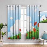MENGBB Blickdicht Vorhang Kinderzimmer Mikrofaser - Cartoon Mohn weiße Wolke blau - Ösen 90% Blickdicht Gardinen - 200x160cm Mädchen Junge Schlafzimmer Wohnzimmer dekorativ