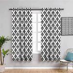 MENGBB Blickdicht Vorhang Kinderzimmer Mikrofaser - Einfach schwarz und weiß stilvoll modern - Ösen 90% Blickdicht Gardinen - 110x140cm Mädchen Junge Schlafzimmer Wohnzimmer dekorativ
