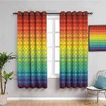 MENGBB Blickdicht Vorhang Kinderzimmer Mikrofaser - Farbverlauf Regenbogen Schuppen Farbe - Ösen 90% Blickdicht Gardinen - 280x260cm Mädchen Junge Schlafzimmer Wohnzimmer dekorativ