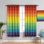 MENGBB Blickdicht Vorhang Kinderzimmer Mikrofaser - Regenbogen Wasserwellen Streifen Mode - Ösen 90% Blickdicht Gardinen - 140x160cm Mädchen Junge Schlafzimmer Wohnzimmer dekorativ