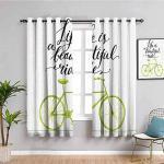 MENGBB Blickdicht Vorhang Kinderzimmer Mikrofaser - Weiß Fahrrad Buchstaben Einfachheit - Ösen 90% Blickdicht Gardinen - 110x140cm Mädchen Junge Schlafzimmer Wohnzimmer dekorativ