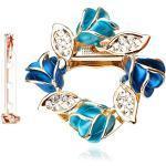 Merdia Damen Blume Schal Clip Brosche Schöner Schal Gürtelschnalle Mit Geschaffenem Kristall - Blau