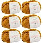 Merino Wolle zum Stricken -6X Merino Pure senfgelb (Fb 4067)- 6 Knäuel Merinowolle gelb + GRATIS Label – Merinowolle Knäuel – 50g/65m – Merino Wolle Nadelstärke 6 – Merino Wolle Nadelstärke 7