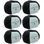 Merinowolle Merino Wolle granit (Fb 3305) 6 Knäuel dunkelgraue Merinowolle zum Stricken - dicke Wolle + GRATIS MyOma Label - 50g/75m - Nadelstärke 6-7mm - MyOma Wolle - weiche Wolle - Merino Garn