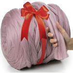 MeriWoolArt 100% Merinowolle zum Stricken & Häkeln mit 4-5 cm dickem Garn | dicke Merino Wolle für XXL Schal, Decke & Kissen (Powder Pink, 100g)