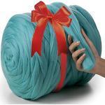 MeriWoolArt 100% Merinowolle zum Stricken & Häkeln mit 4-5 cm dickem Garn | dicke Merino Wolle für XXL Schal, Decke & Kissen (Azurblau, 1Kg)
