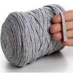 MeriWoolArt Baumwollgarn für Stricken, Makramee, Häkeln, Weben, Geschenkband für Weihnachten - 10 mm Textilgarn, 150 m T-Shirt Garn - Neue Qualität (Hellgrau)
