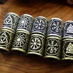 Messing Dreadlock Perlen Runen Bronze/Silber Kelten Kraft Odin Germanen Bartperlen Breads Dreads 'Hippie 'Goa 'Boho 'Nature 'Vintage Viking