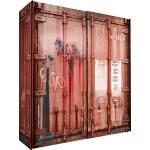 Mid.you Schwebetürenschrank 2-Türig Rot, 170x195.5x60 Cm