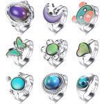 Milacolato 9Pcs Stimmung Ringe für Frauen Einstellbare Größe Farbwechsel Ringe Set für Frauen Temperaturregelung Farbringe