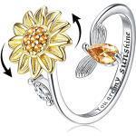 Milacolato S925 Sterling Silber Zappelringe für Damen Verstellbarer Offener Ring Zirkonia Sonnenblume Du bist Mein Sonnenschein Spinner Ringe für Damen