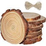 MINGZE Holzscheiben 10 Stücke, Holz Log Scheiben 11-12cm und Frei Nnatürliche Jute Seil für DIY Handwerk Holz-Scheiben Hochzeit Mittelstücke Weihnachten Dekoration Baumscheibe (10)