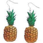 Miniblings Ananas Ohrringe Hänger Obst Sommer Ferien Urlaub gelasert Holz - Handmade Modeschmuck I Ohrhänger Ohrschmuck versilbert