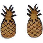 Miniblings Ananas Ohrstecker Ohrringe Pineapple Obst Ananas Holz gefräst braun - Handmade Modeschmuck I Ohrringe Stecker Ohrschmuck