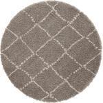 MINT RUGS Hochflor-Teppich »Hash«, rund, Höhe 35 mm, Scandi Look, Wohnzimmer, grau, grau-creme