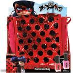 Miraculous große Umhängetasche mit Wendepailletten rot pink - Lady Bug Pailletten Tasche - Kinder Schultertasche Tasche Handtasche mit Nagellack - Mädchen Kreativ Spielzeug Nagellack Set ab 6 Jahren