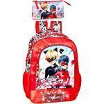 Miraculous - Ladybug Kinderrucksack »Ladybug & Cat Noir - Rucksack und Federmäppchen, rot« (Reißverschluss, Mädchen), Tragegurte