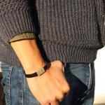 mitienda Armband »Lederarmband für Männer, schwarz - silber«