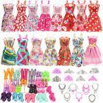 Miunana 32 Kleidung Zubehör Schmuck Schuhe für 11,5 Zoll Mädchen Puppen = 10 Mode Handgefertigte Kleider + 10 Schuhe + 6 Kronen + 6 Ketten für Puppen