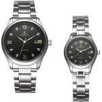 MJARTORIA Unisex Armbanduhr Männer Damen Paare Uhren Unisex Analog Quarzuhr mit Silber Edelstahl Armband Schwarz Weiß
