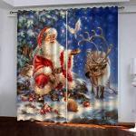 MMHJS Weihnachten Alter Mann 3D-Druck Vorhänge Hotel Garten Balkon Schlafzimmer Verdunkelungsvorhänge Polyester wasserdichte Verdunkelungsvorhänge (2 Stück)
