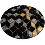 Modern GLOSS Teppich Kreis 400B 86 stilvoll, glamour, art deco, 3D geometrisch schwarz / gold Kreis 120 cm