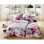 Fuchsiafarbene Moderne Bettwaesche-mit-Stil Satinbettwäsche mit Magnolienmotiv