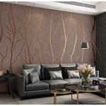 Modernes Design Vliestapete 9,5 m x 0,53 m Beflockung 3D Elegance Tapete für Schlafzimmer Wohnzimmer TV Hintergrund Wand Büro Wanddekoration(Braun)