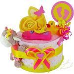 MomsStory - mini Windeltorte Mädchen   Baby-Geschenk zur Geburt Taufe Babyshower   1 Stöckig (Rosa-Gelb) mit Baby-Spielzeug Lätzchen & mehr
