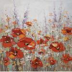 Monee ÖLGEMÄLDE Blumen, Mehrfarbig, Holz, Fichte, 100x100 cm