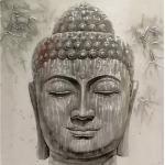 Monee ÖLGEMÄLDE Buddha, Weiß, Holz, Metall, Tanne, vollmassiv, 100x100 cm