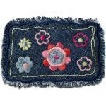 Mono-Quick Aufnäher, Polyester, Jeanspatch fransig mit Blumen - Aufnäher, Bügelbild, Aufbügler, Applikationen, Patches, Flicken, zum aufbügeln, Größe: 8