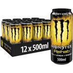 Monster Energy Rehab Lemon, 12x500 ml, Einweg-Dose – Energy Iced Tea mit Zitronengeschmack