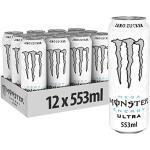 Monster Energy Ultra White, 12x553 ml, Einweg-Dose, Zero Zucker und Zero Kalorien – wiederverschließbar